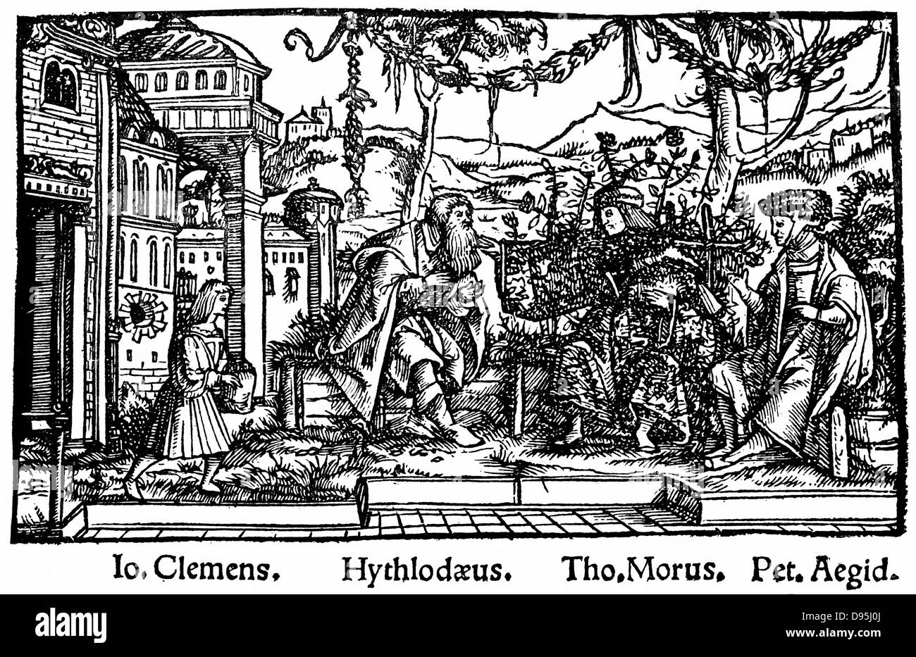 Headpiece from Thomas Moore's work depicting an ideal state where reason ruled, 'Utopia' 1518 (Ist edition - Stock Image