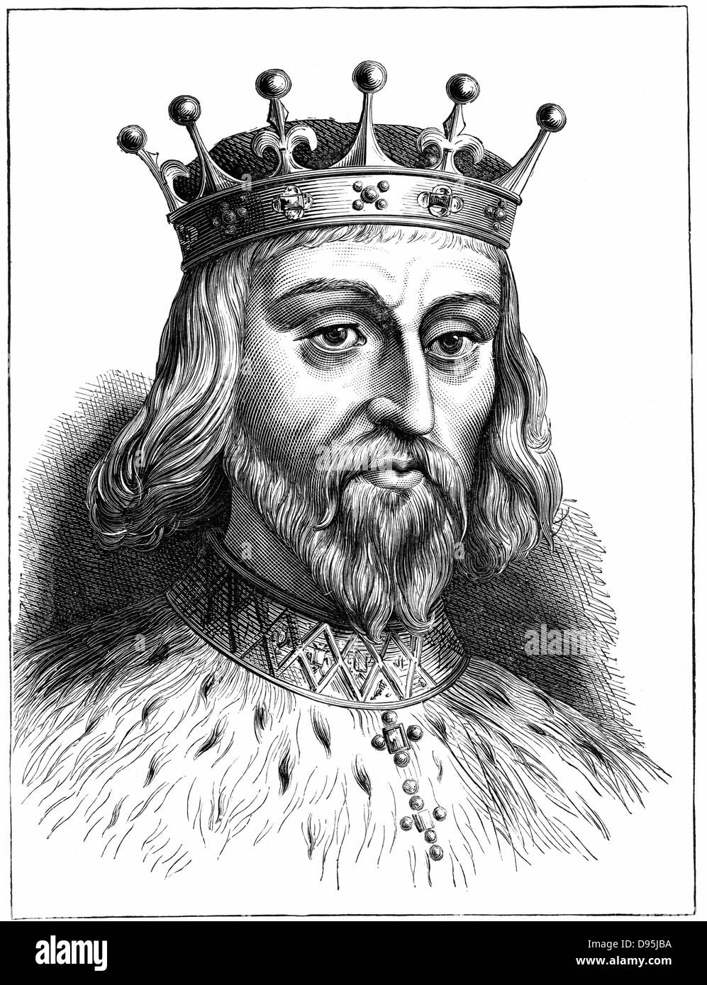 Henry II (1138-89) king of England from 1154. First Plantagenet king of England. Wood engraving. - Stock Image