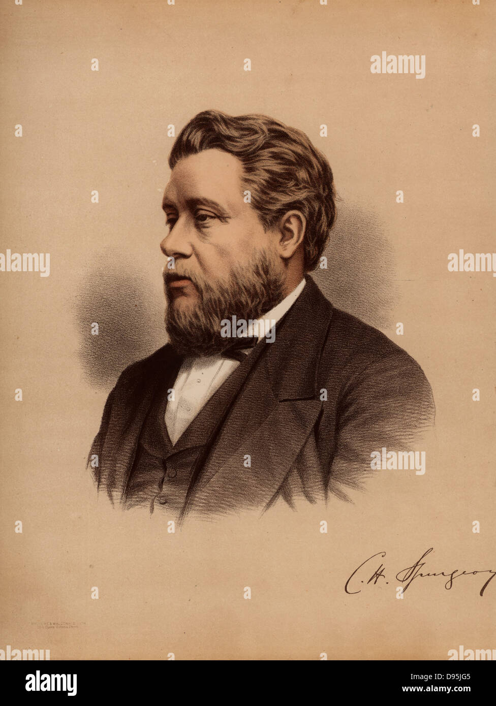 Charles Haddon Spurgeon (1834-1892) English popular Baptist preacher, born at Kelvedon, Essex. Called the Prince - Stock Image