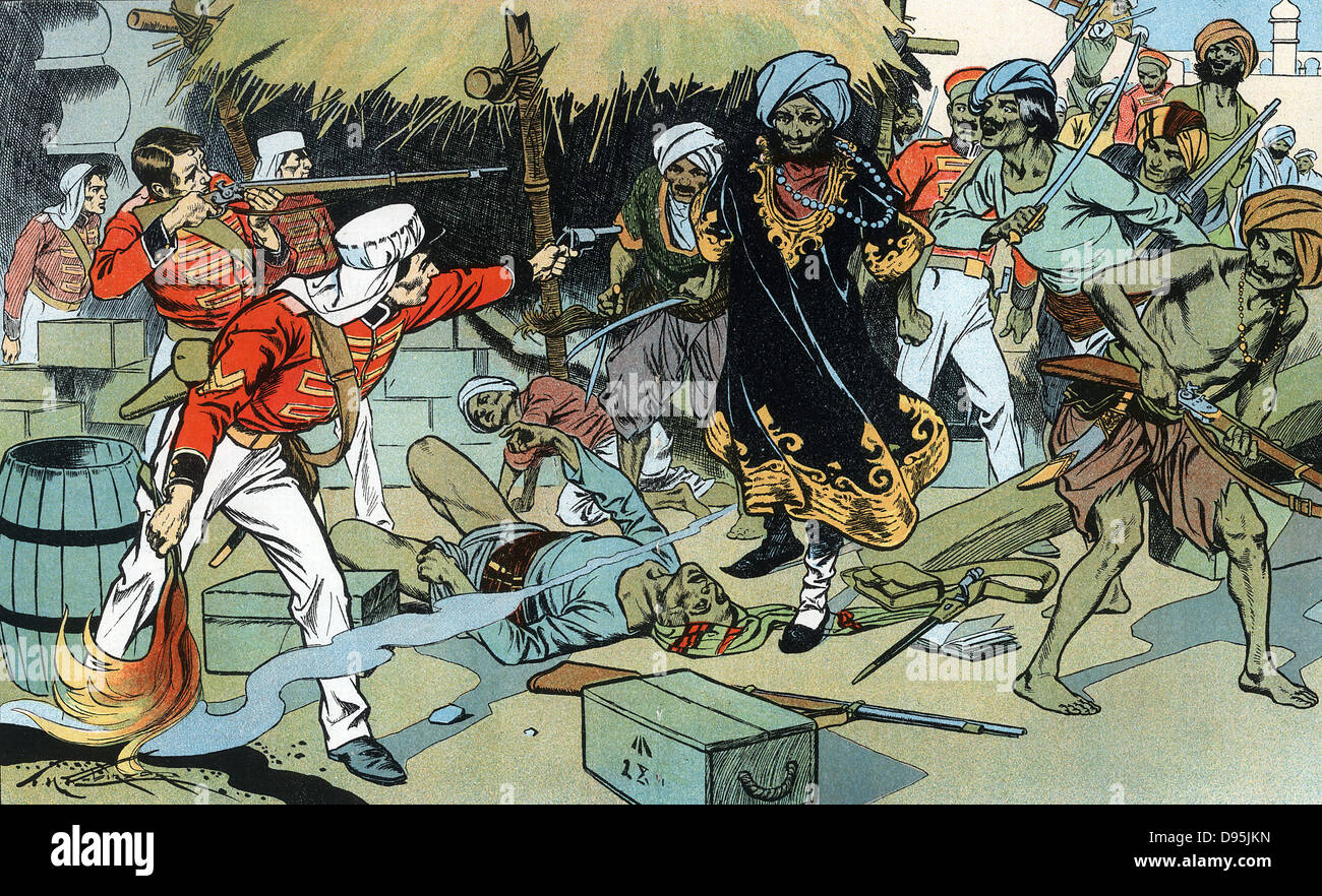 Indian Mutiny, also known as the Sepoy Mutiny or The Great War of Independence : Mutineers attacking magazine at - Stock Image