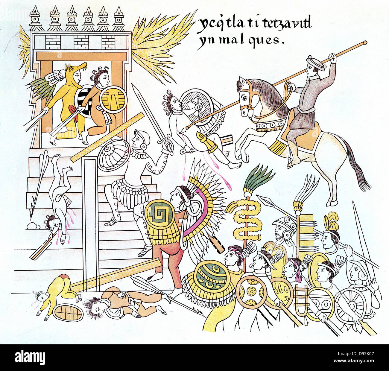 Spanish conquistadors with their native Tlazcalan allies attack an Aztec temple. Copy of section of drawings of - Stock Image