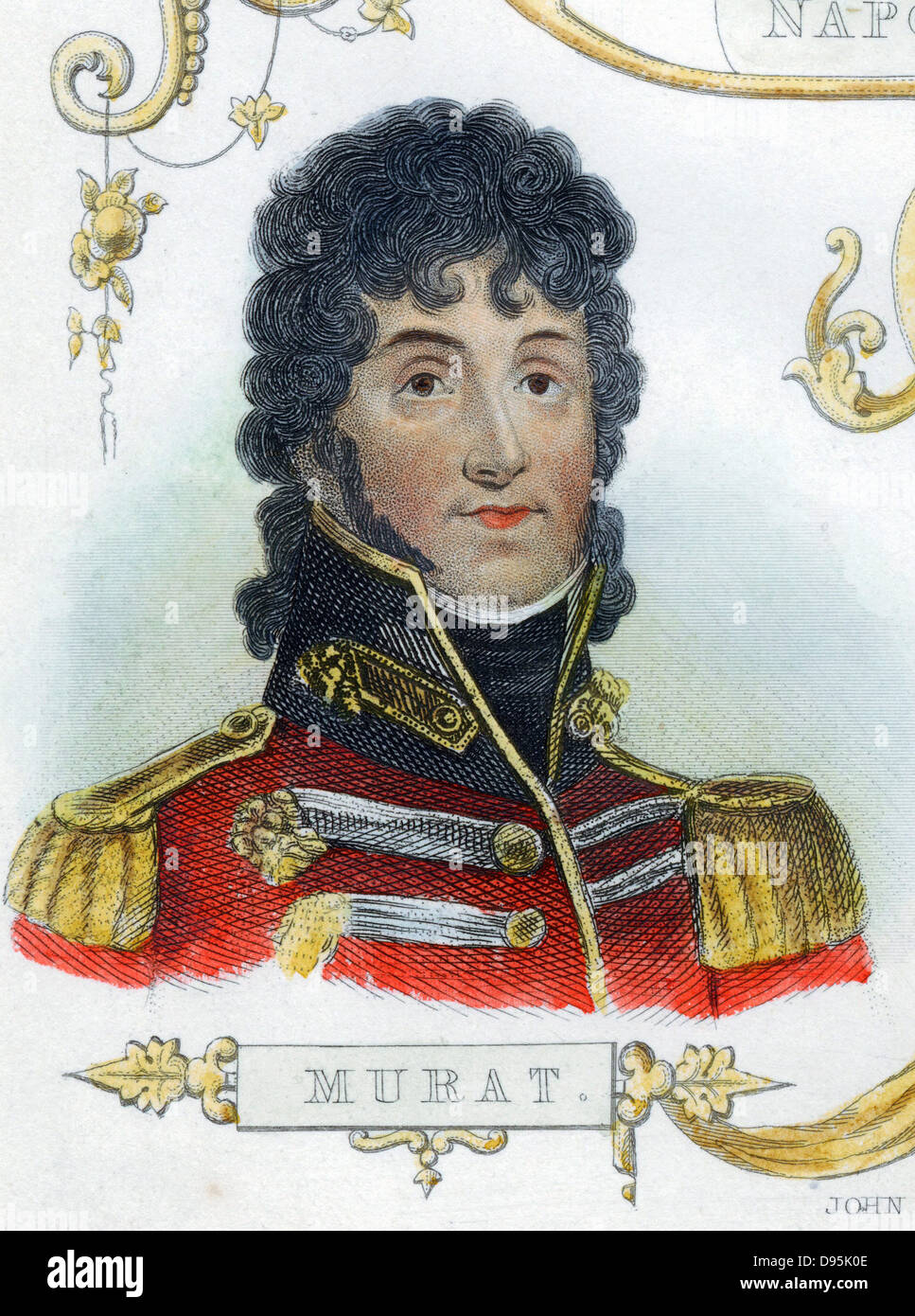 Joachim Murat (1767-1815) French soldier, King of Naples from 1808. Hand-coloured engraving - Stock Image