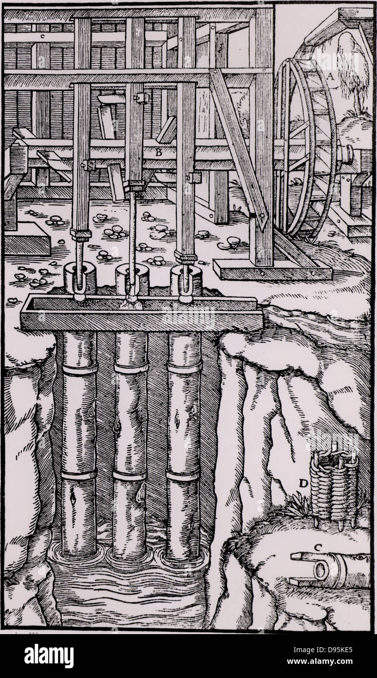 Draining mine workings by means of a battery of three pumps. The axle, B, is powered by an overshot water wheel. - Stock Image