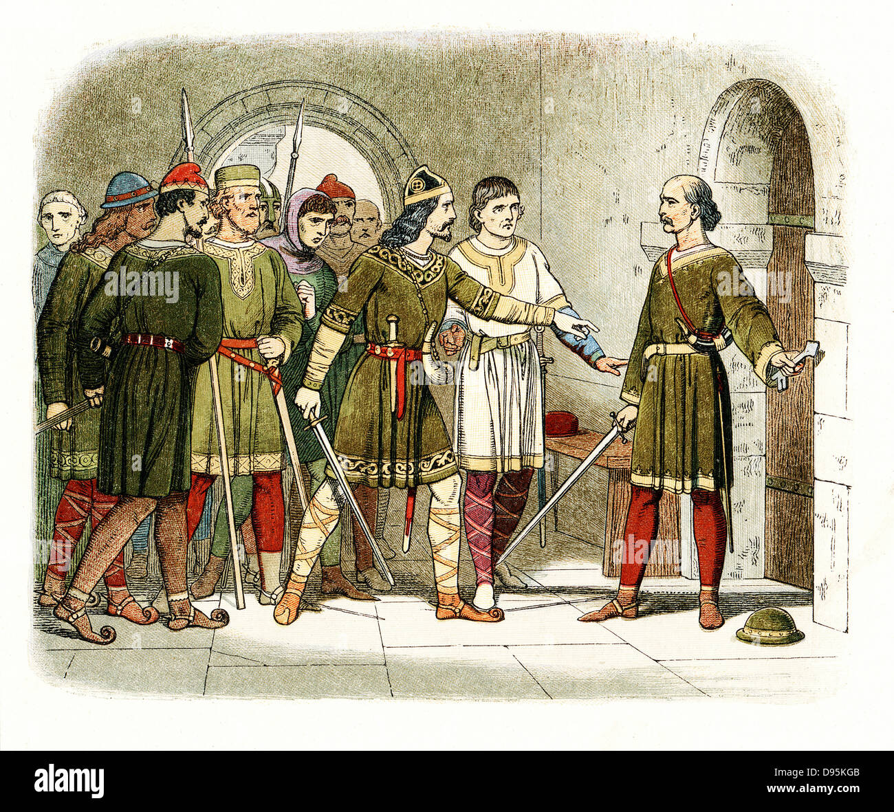 William de Breteuil defending the treasury at Winchester against Henry I (1068-1135) who seized the crown on death - Stock Image