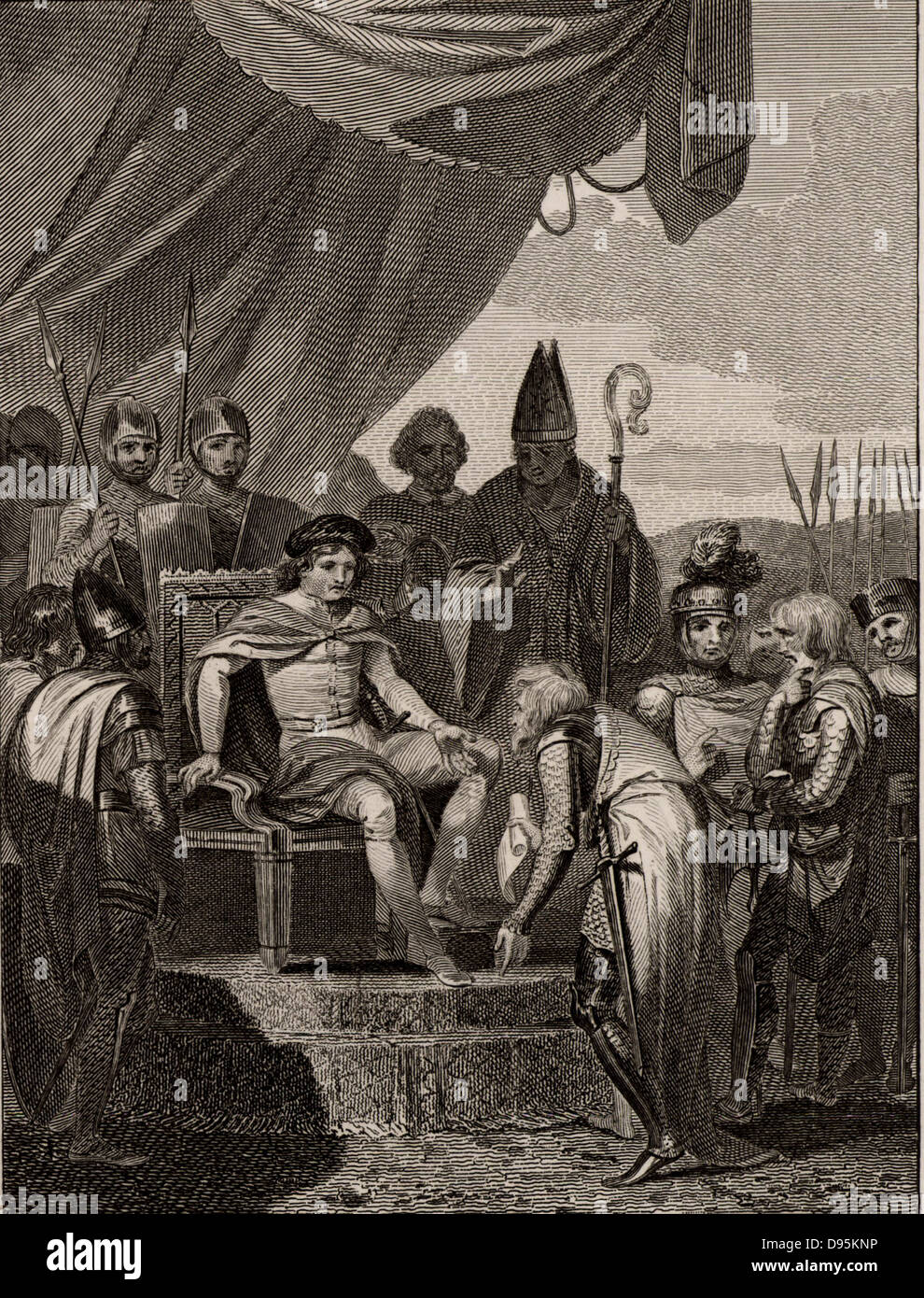 The English Barons presenting Magna Carta to King John (1167-1216, king of  England from 1199) at Runnymede, near Windsor.