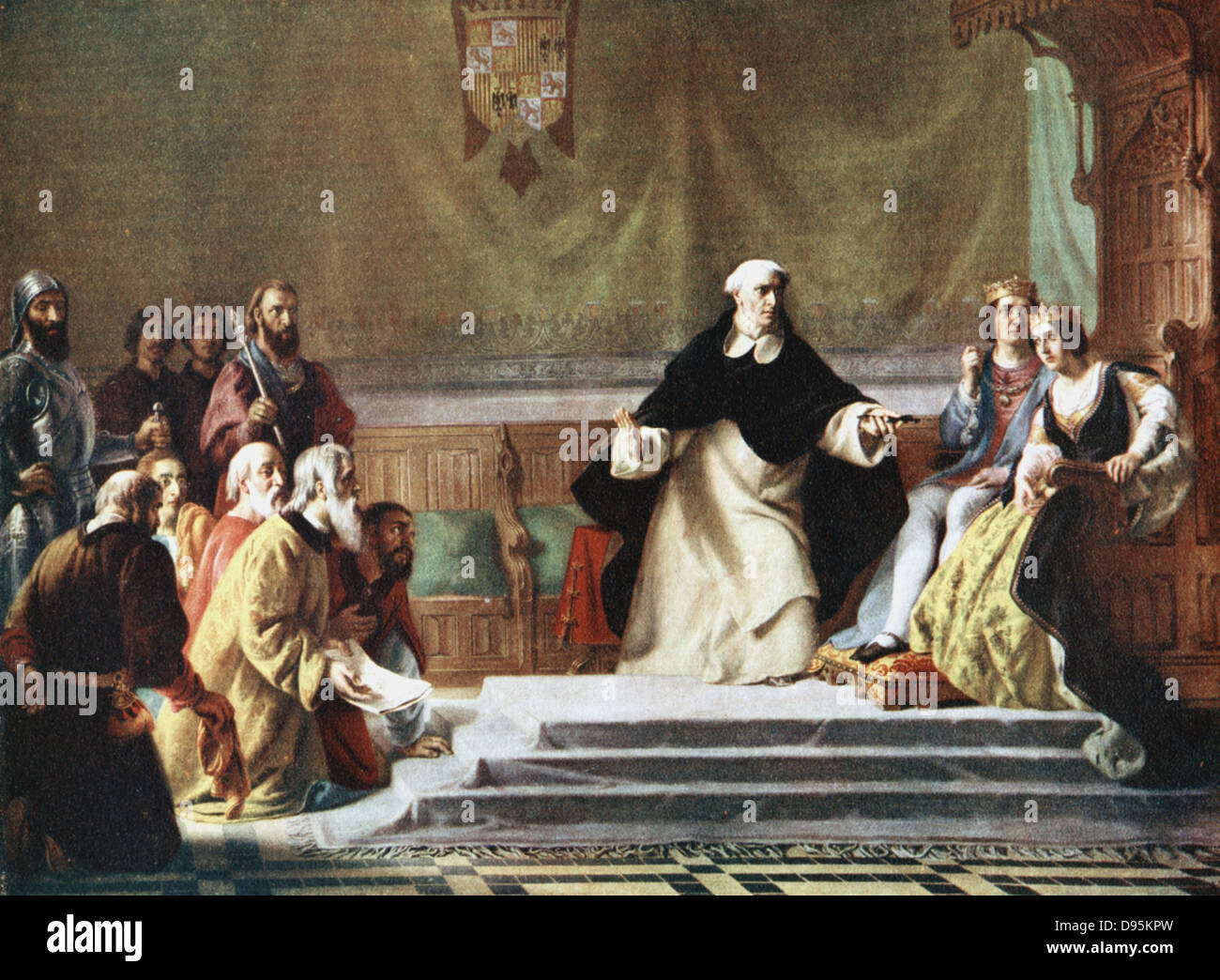 Expulsion of Jews from Spain, 1492. Ferdinand and Isabella being petitioned for mercy by  some of those who are - Stock Image