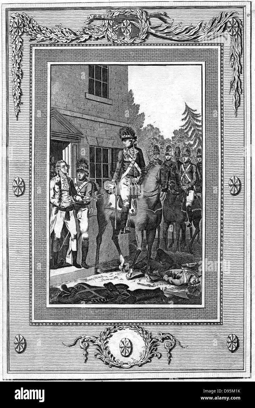 Charles Lee (1731-82) English-born American Revolutionary general captured by British troops 1776. Engraving - Stock Image