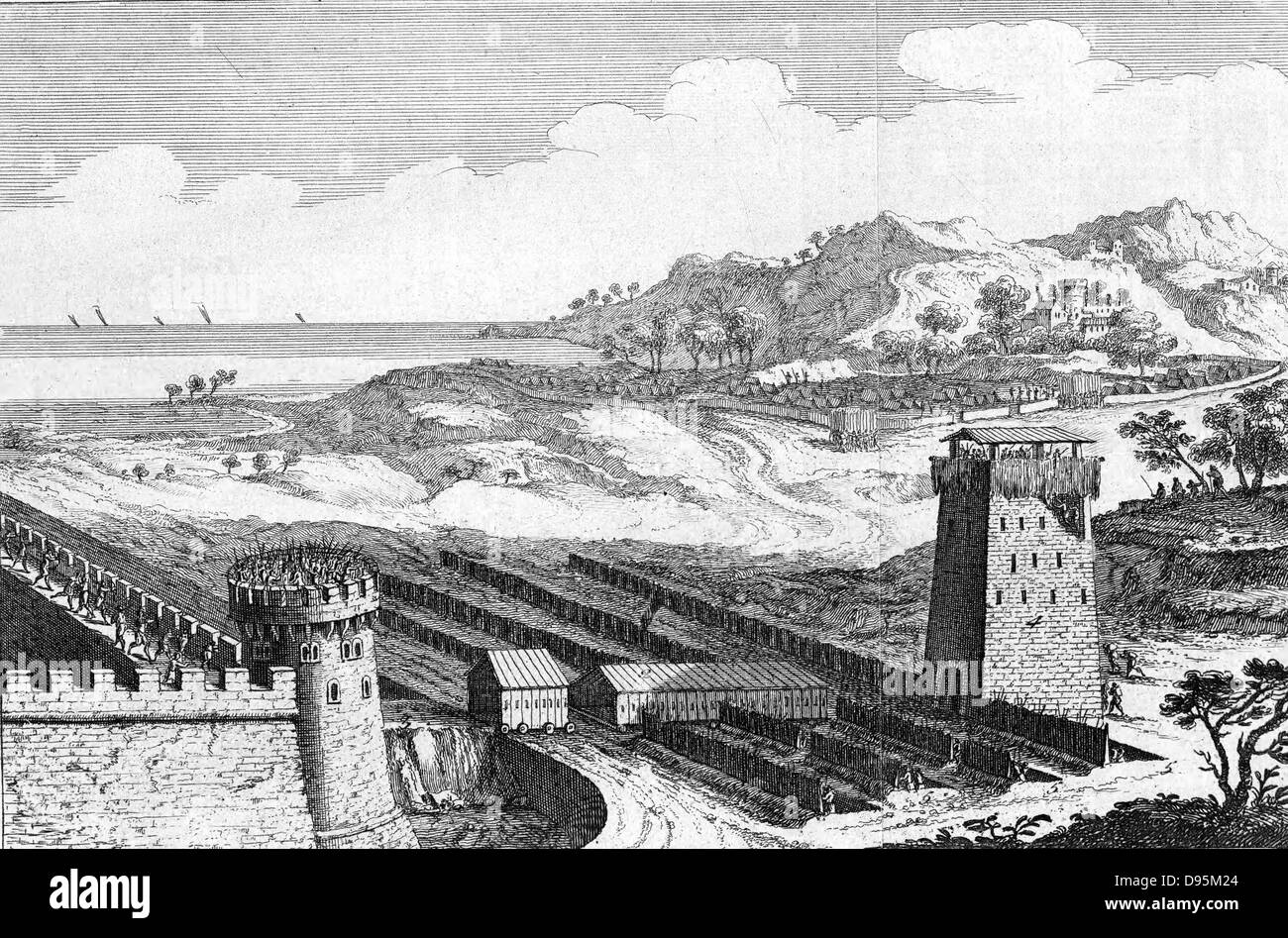 Reconstruction of Julius Caesar's siege of Marseilles, showing the musculus or covered way to protect engineers - Stock Image