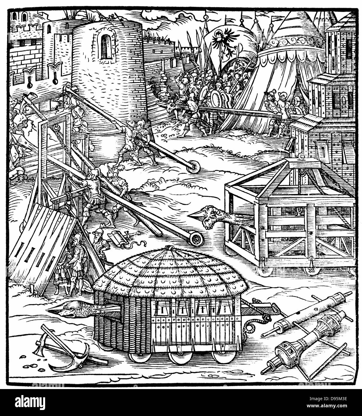 Various forms of siege equipment, including battering rams. Woodcut from Gaultherius Rivius 'Architectur ... - Stock Image
