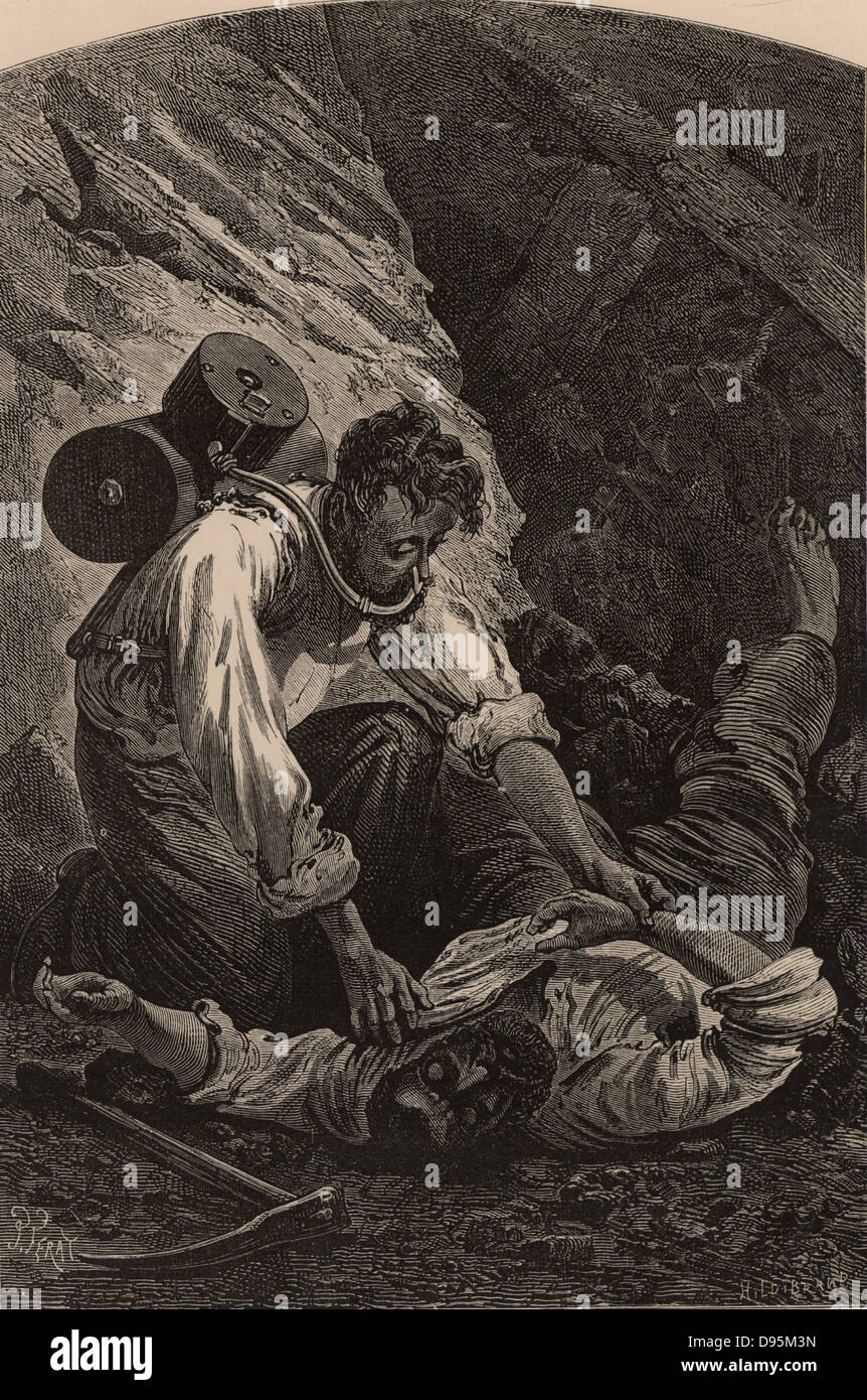 Rescuing a miner after a pit disaster. The rescuer is using Royquayrol's breathing apparatus. From  'Underground - Stock Image