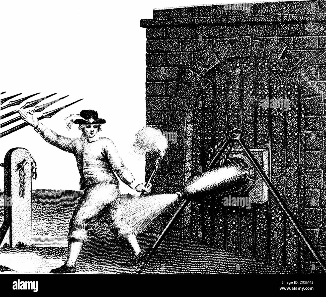 Normal method of applying a petard (explosive device) to the gate of a fortress. The fuse has just been lit and - Stock Image