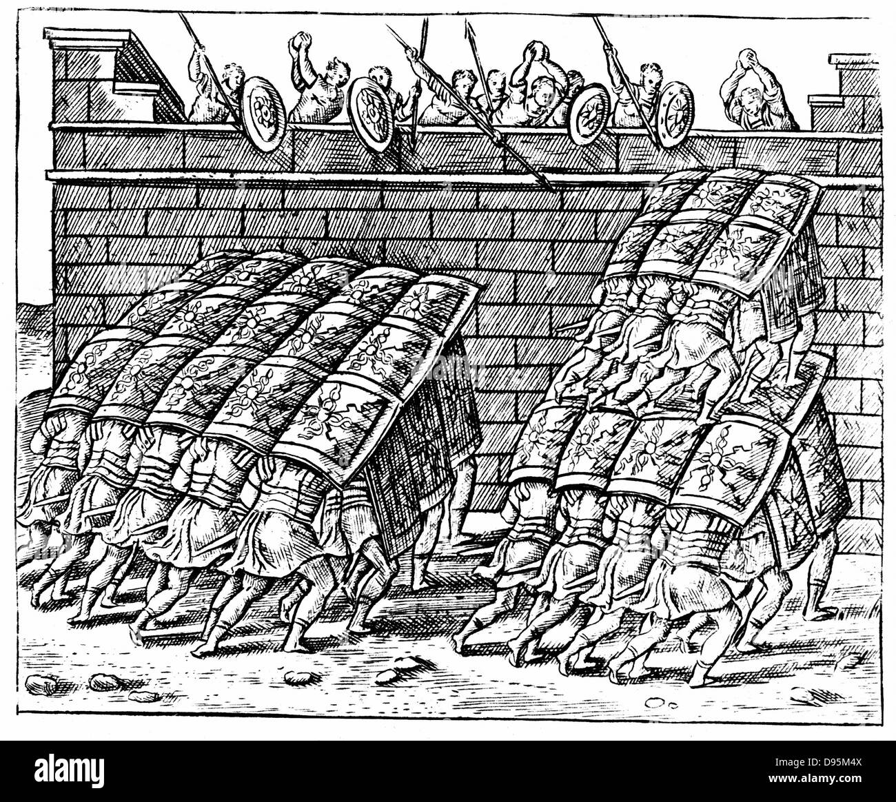 Roman soldiers forming a Tortoise with their shields and approaching the walls of a besieged fortress. Engraving - Stock Image