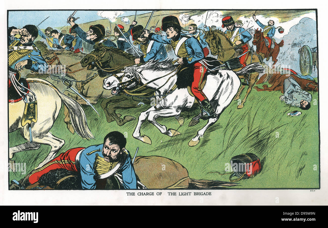 Crimean (Russo-Turkish) War 1853-1856. Charge of the Light Brigade at Balaclava, 15 October, 1854. Lord Raglan gave - Stock Image