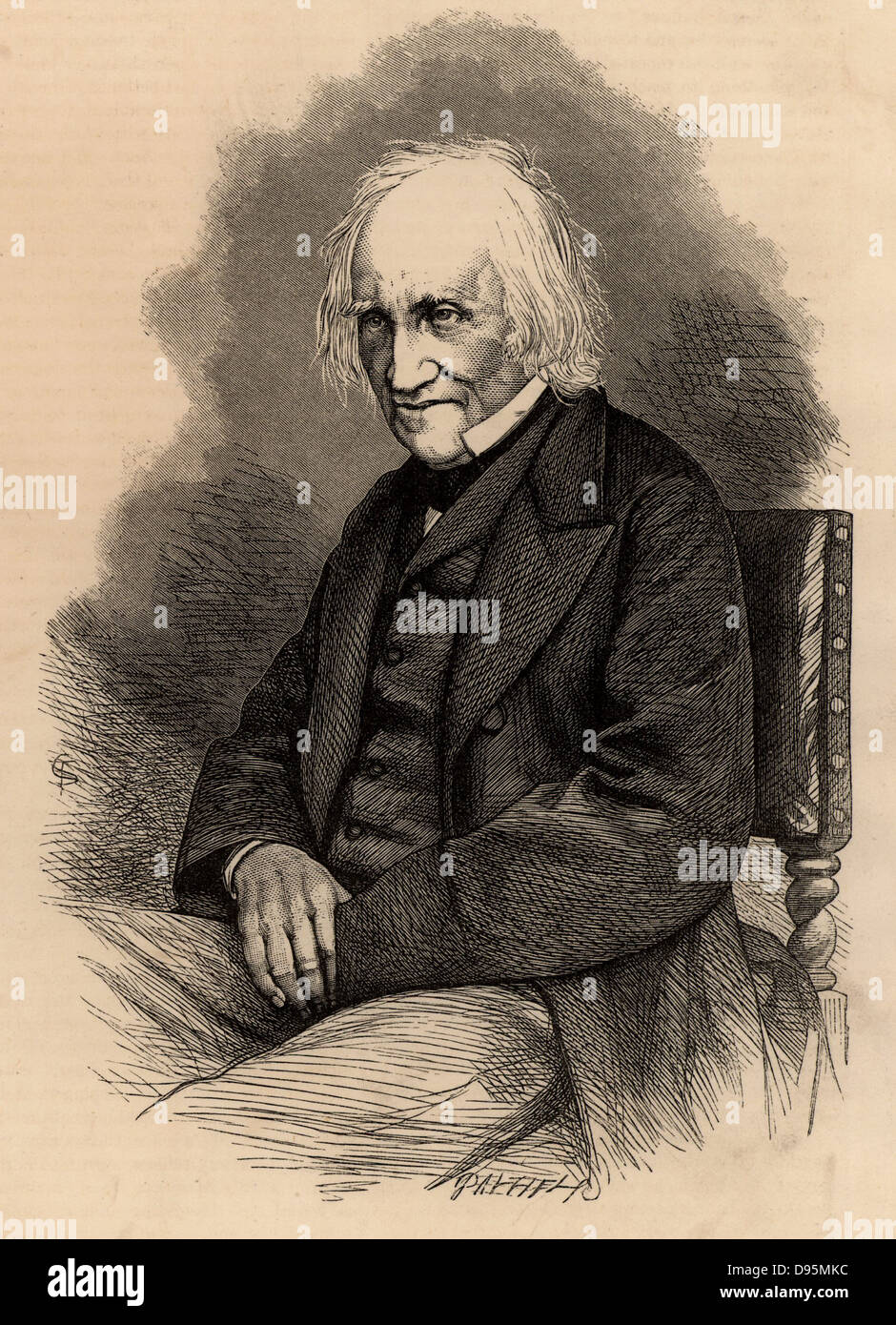 Charles Knight (1791-1873) English author and publisher of cheap illustrated books and periodicals. Wood engraving - Stock Image