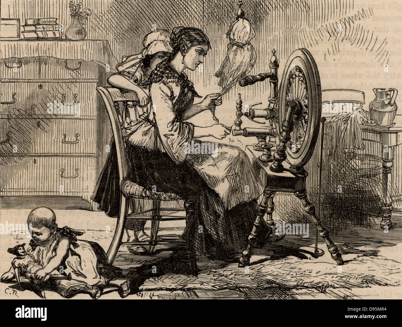 Female homeworker using a treadle spinning wheel. Before the building of large factories and the coming of mass - Stock Image