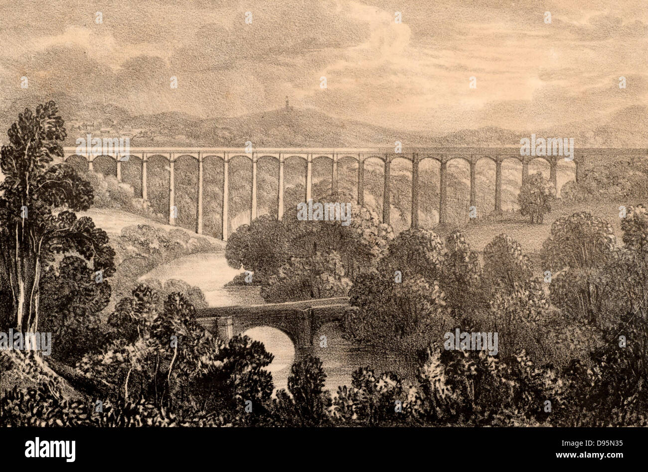 Pont-y-Cysyllte aqueduct on the Ellesmere Canal where it passes through the Vale of Llangollen, Wales.  The most - Stock Image