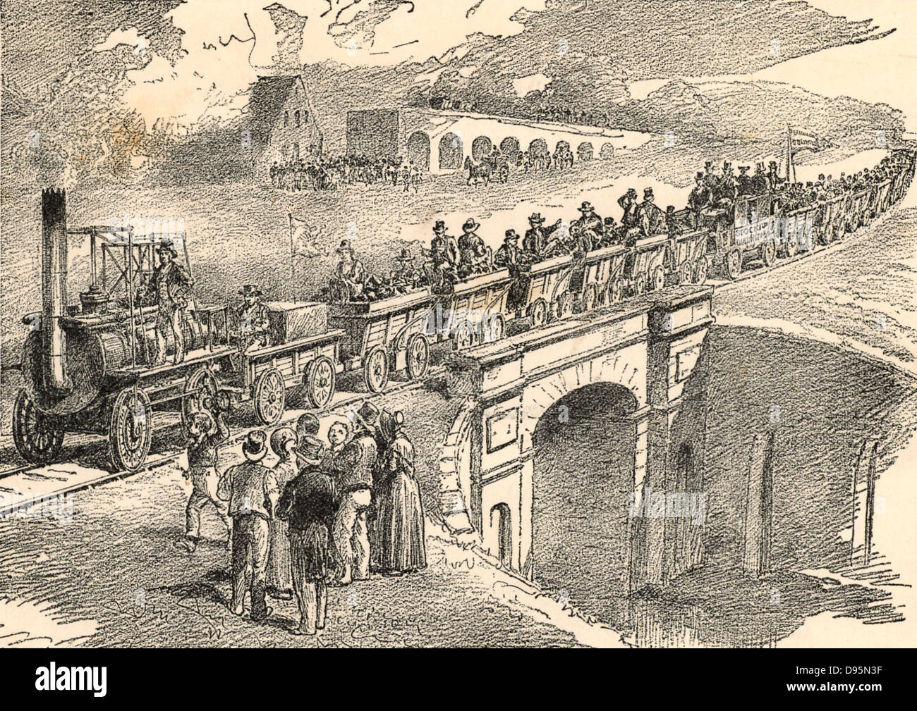 Opening of the Stockton and Darlington Railway, 27 September 1825. The  civil engineer for the line was George Stephenson