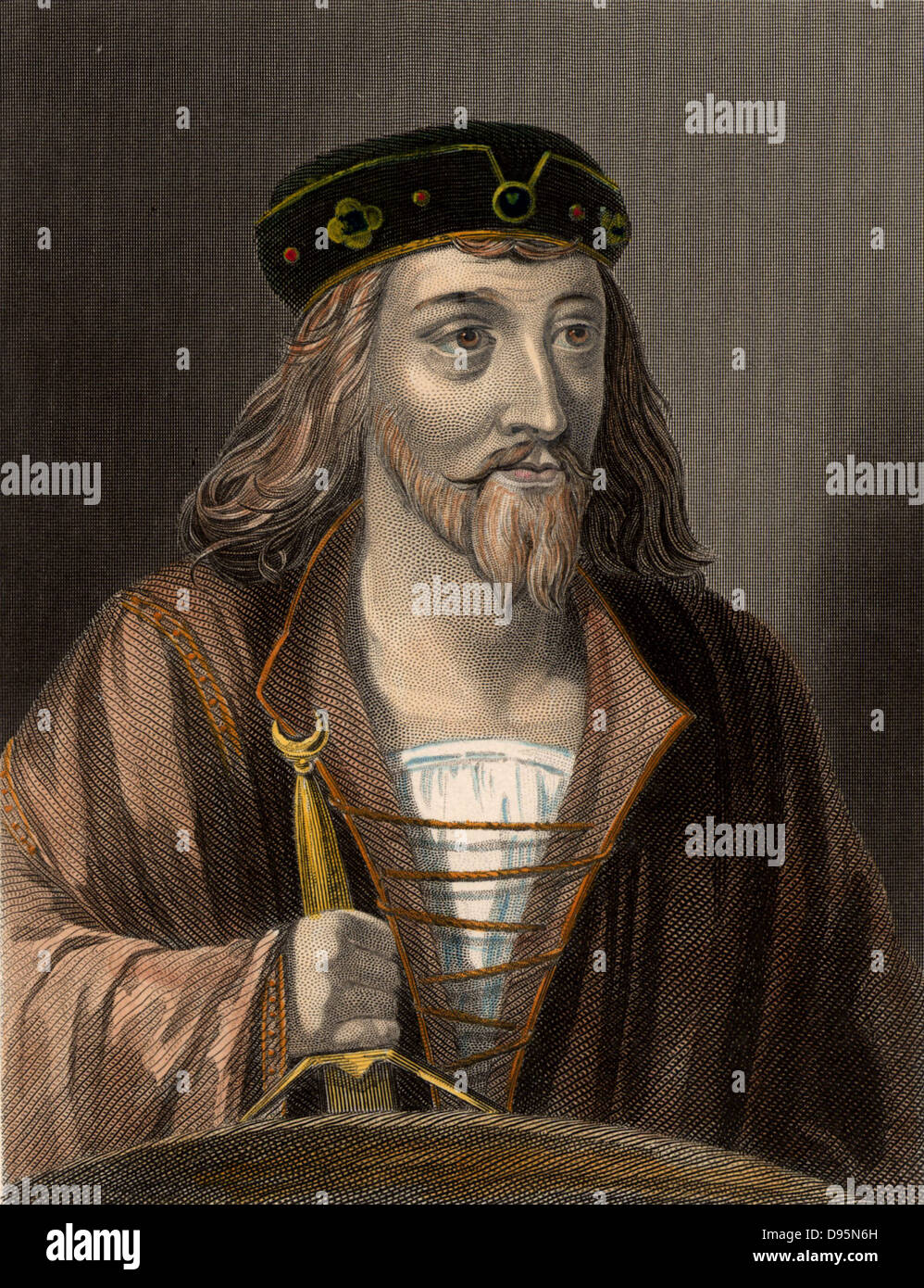 James I (1394-1437) King of Scotland from 1424 until assassinated in 1437.  19th century hand-coloured engraving. - Stock Image