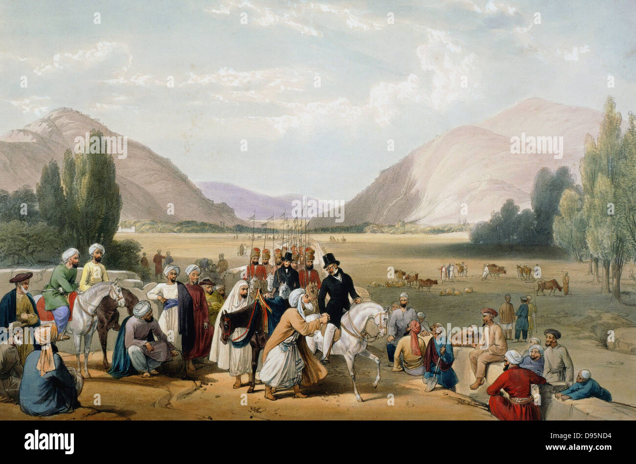 First Anglo-Afghan War 1838-42: Dost Mohammed Khan surrendering to William MacNaghten (1793-1841) taking his morning - Stock Image