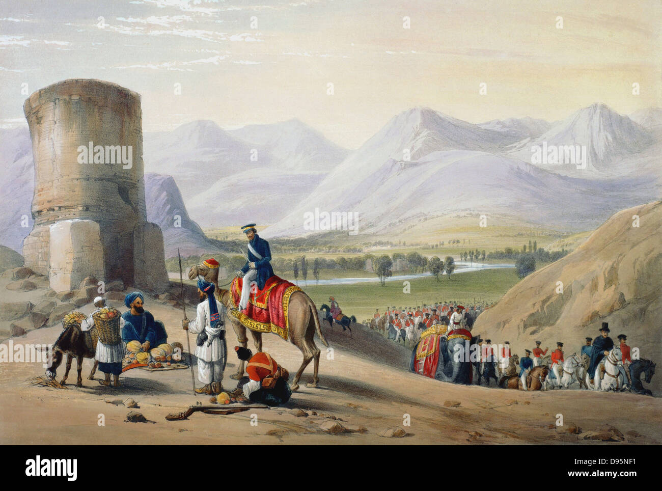 First Anglo-Afghan War 1838-42: British army passing through Meyden valley on march from Meyden to Urghundee.  From - Stock Image
