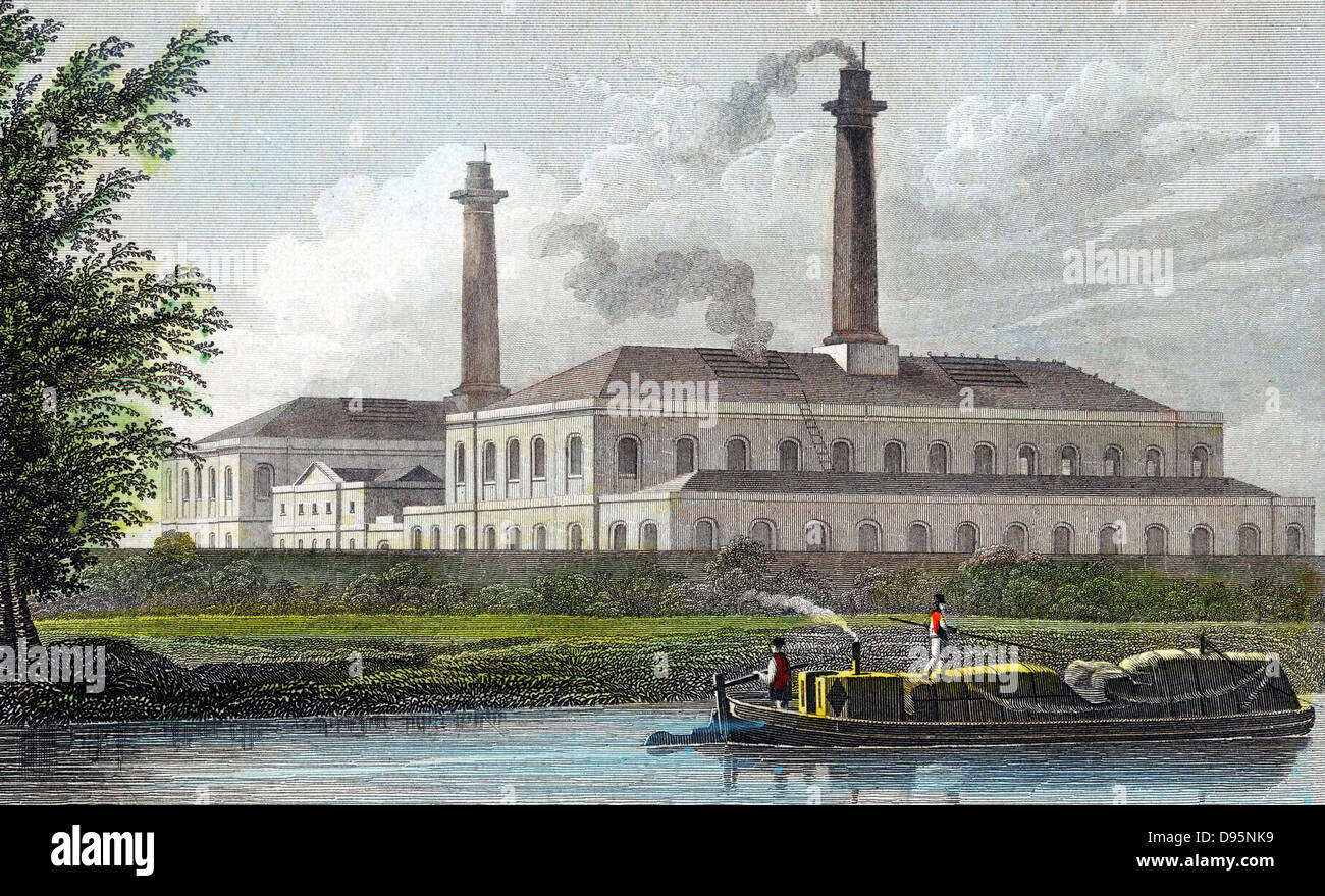 Gas Works on Regent's Canal, London. Hand-coloured engraving after TH Shepherd published 1828. Stock Photo