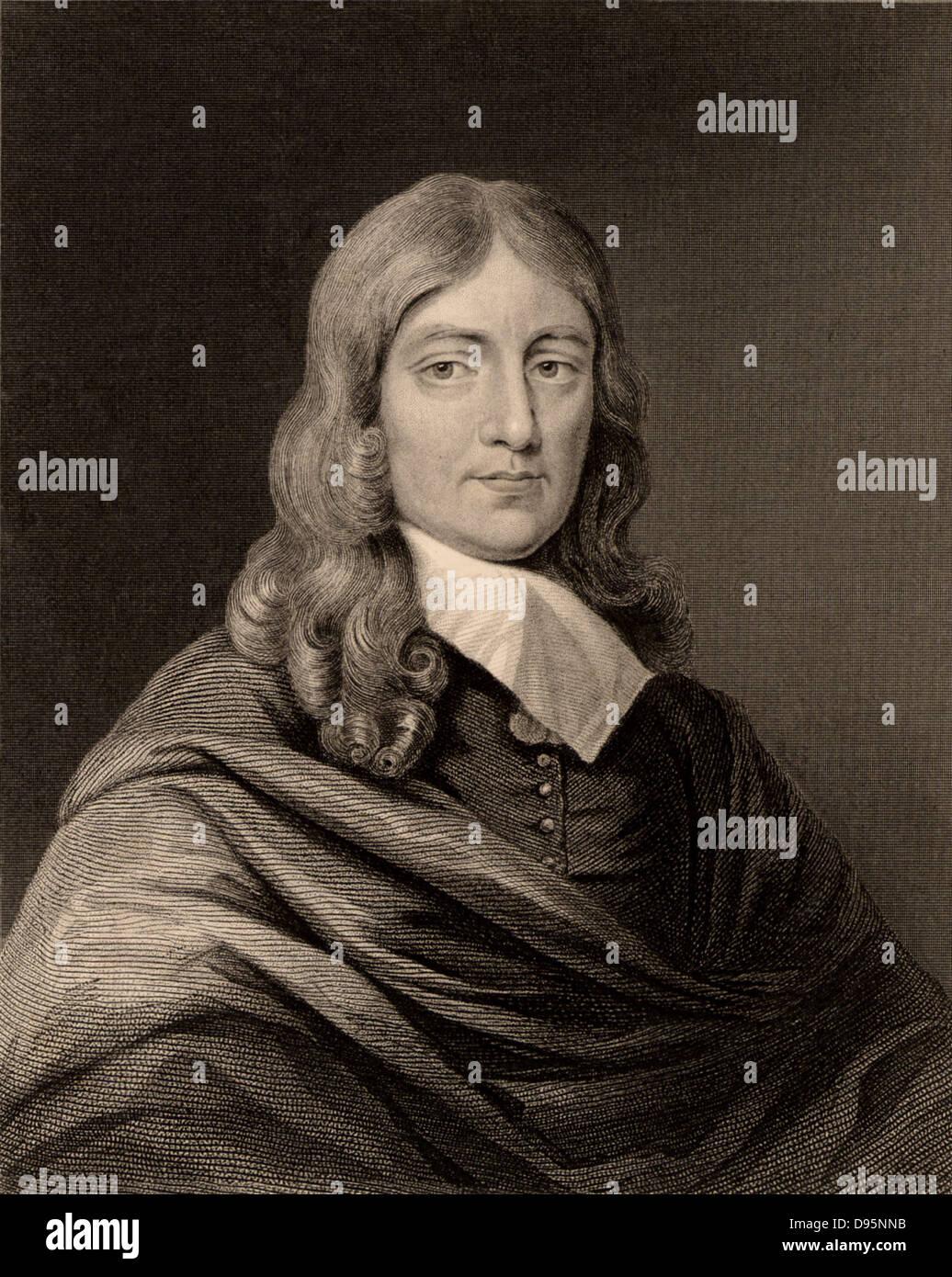 John Milton (1608-1674) English poet, born at Cheapside, London. Engraving.  British Literature - Stock Image