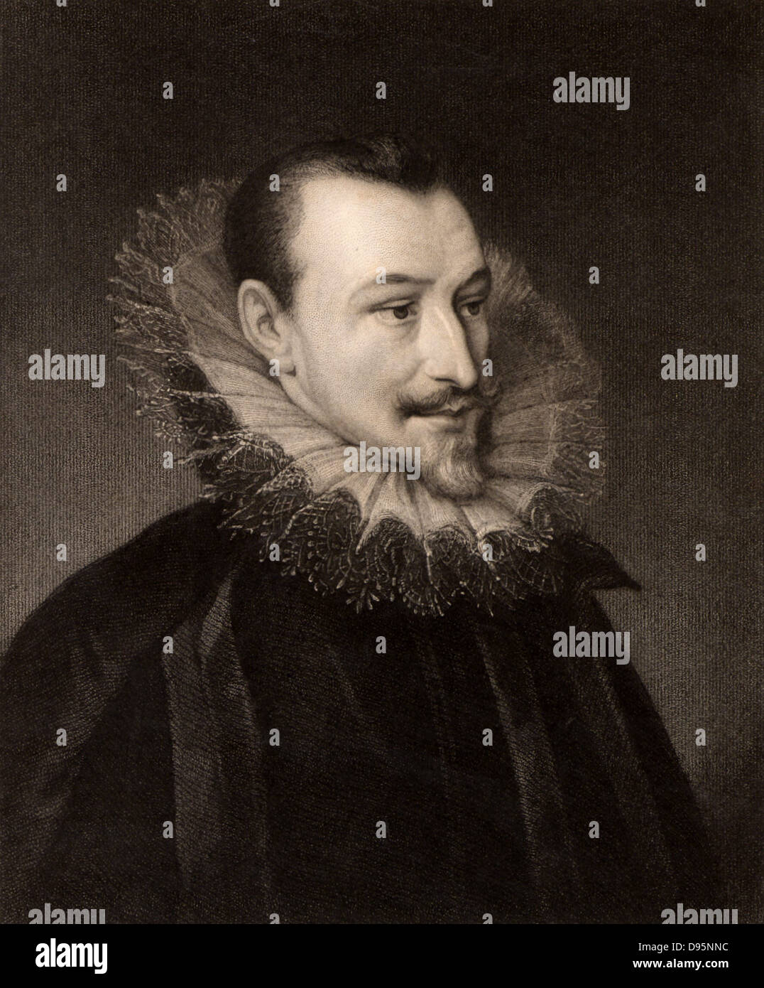 Edmund Spenser (1552?-1599) English Elizabethan poet.  Engraving from 'The Gallery of Portraits' Vol. IV, - Stock Image