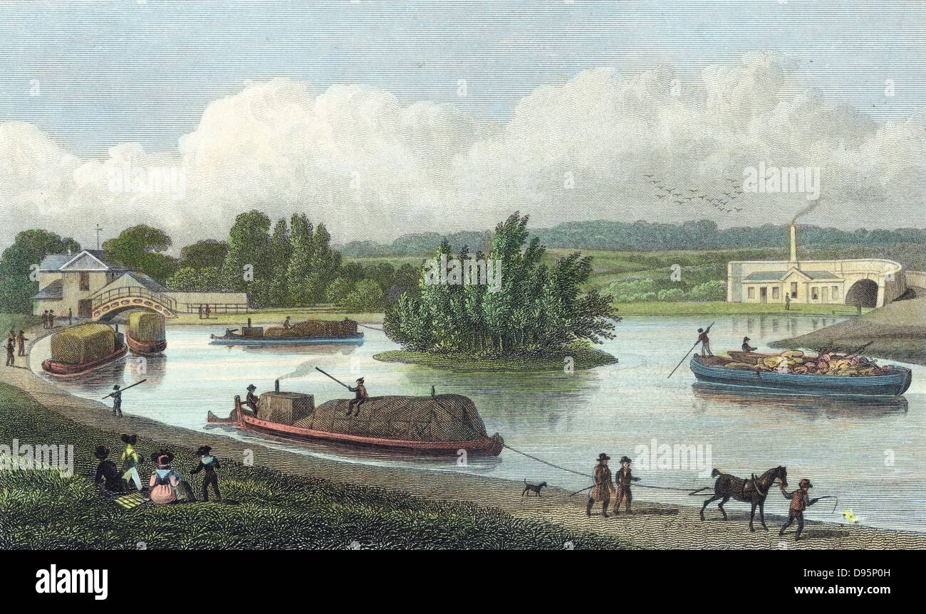 Junction of Regent's Canal at Paddington Basin, London. Hand-coloured engraving after TH Shepherd from 'London and Stock Photo