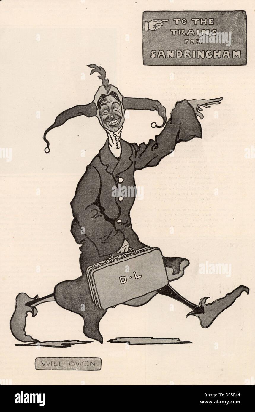 Dan Leno (1860-1904) born George Wild Galvin. Popular English cockney comedian and pantomime dame. Leno on his way - Stock Image