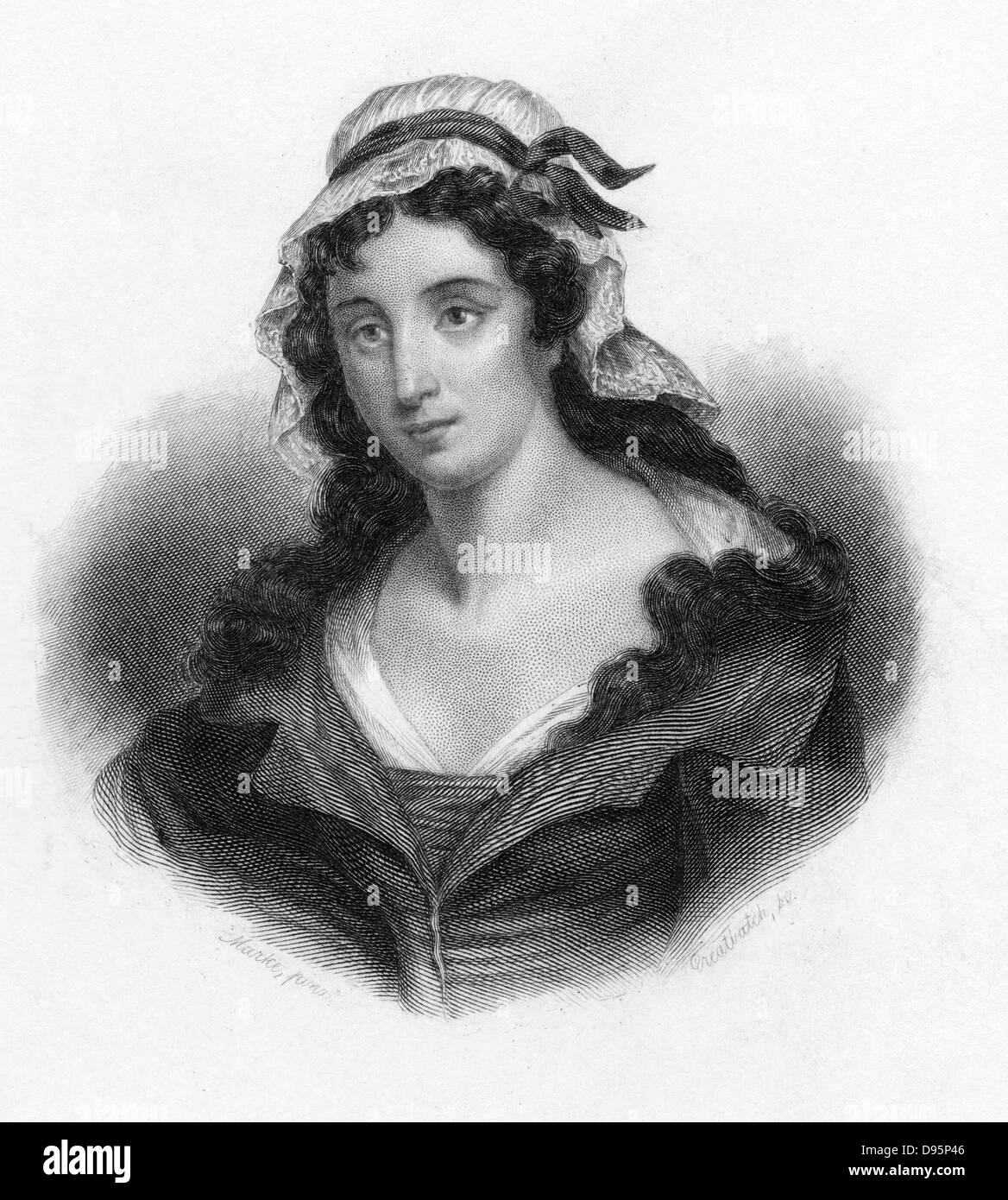 Charlotte Corday (1768-93) who murdered French revolutionary Marat in his bath. Engraving. - Stock Image