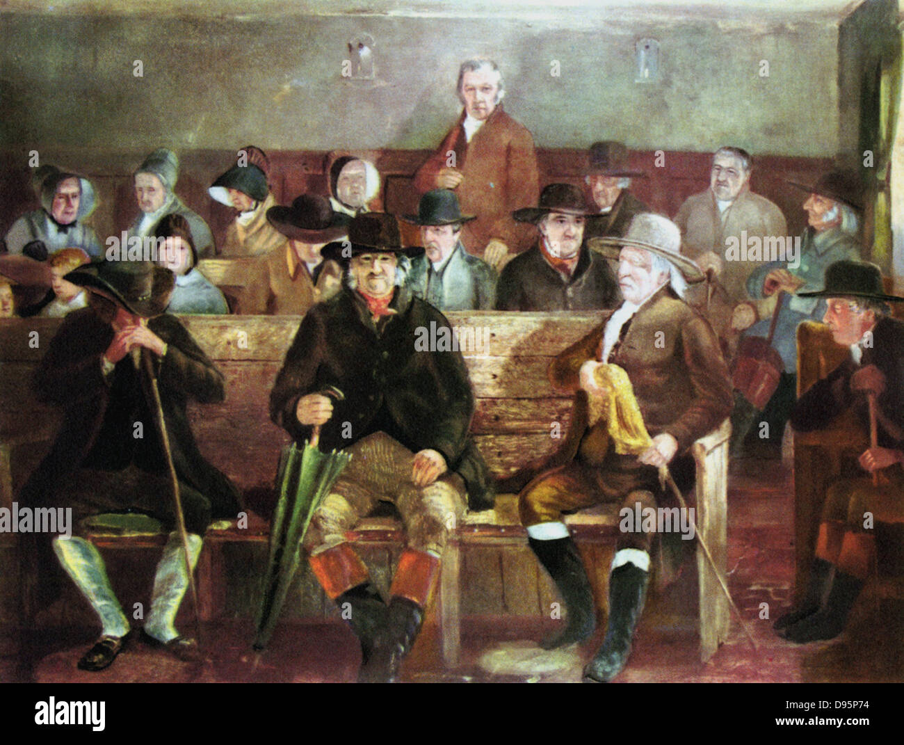 Quaker meeting. After painting of 1839. - Stock Image