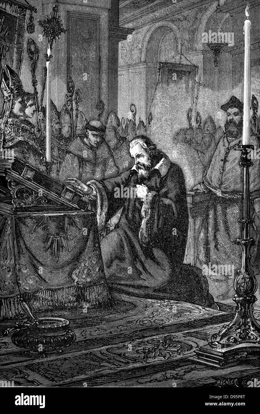 Galilei Galileo (1564-1642) Italian astronomer and mathematician. Artist's reconstruction of Galileo recanting. - Stock Image