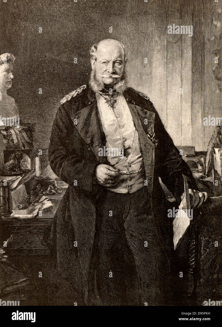 Wilhelm I (William I - 1797-1888) seventh king of Prussia and first emperor of Germany from 1861. Engraving from - Stock Image