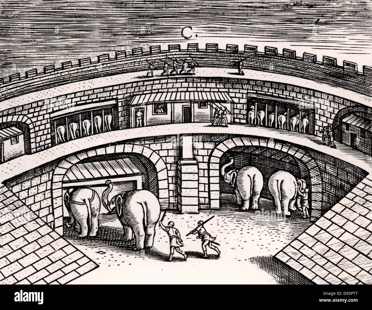 Roman army stables with elephants at ground level, with horses on the upper level.   From 'Poliorceticon' by Justus Lipsius (Antwerp, 1605). Copperplate engraving. Stock Photo