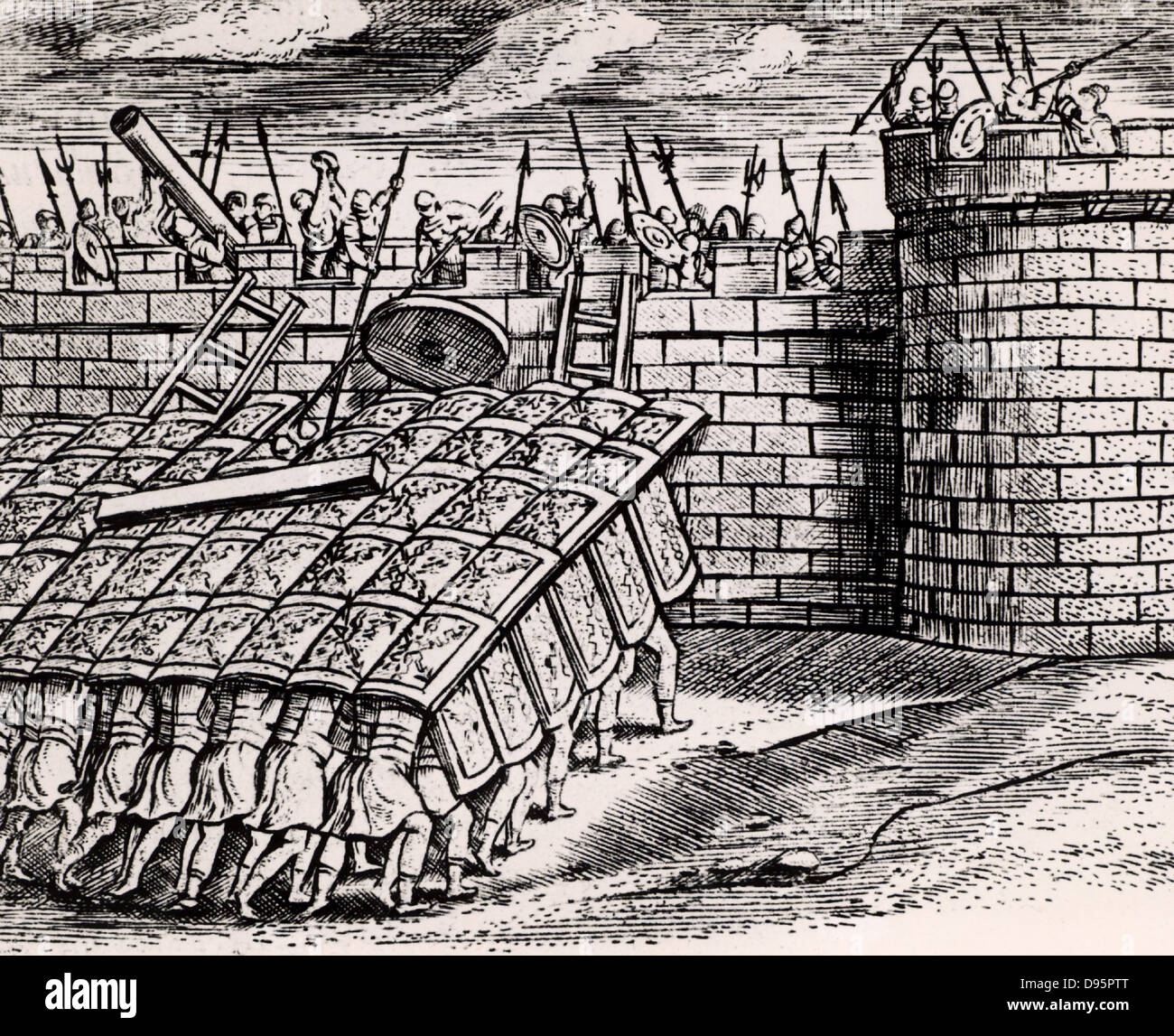 Roman soldier forming a 'tortoise' with their shields, thus enabling them to approach the walls of a besieged - Stock Image