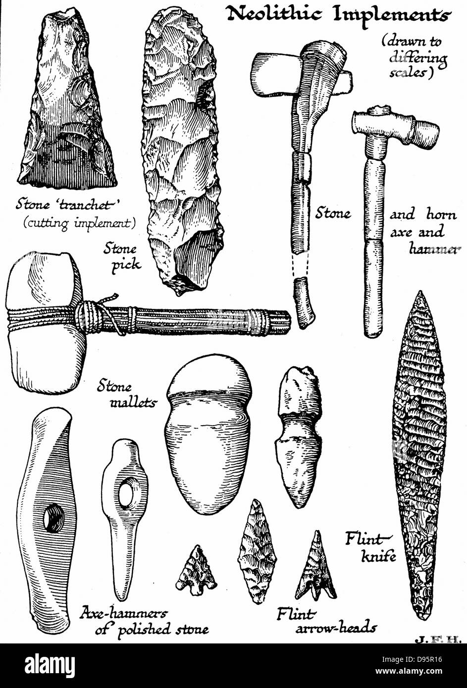 Neolithic implements of stone, flint and horn. Woodcut c1890 - Stock Image