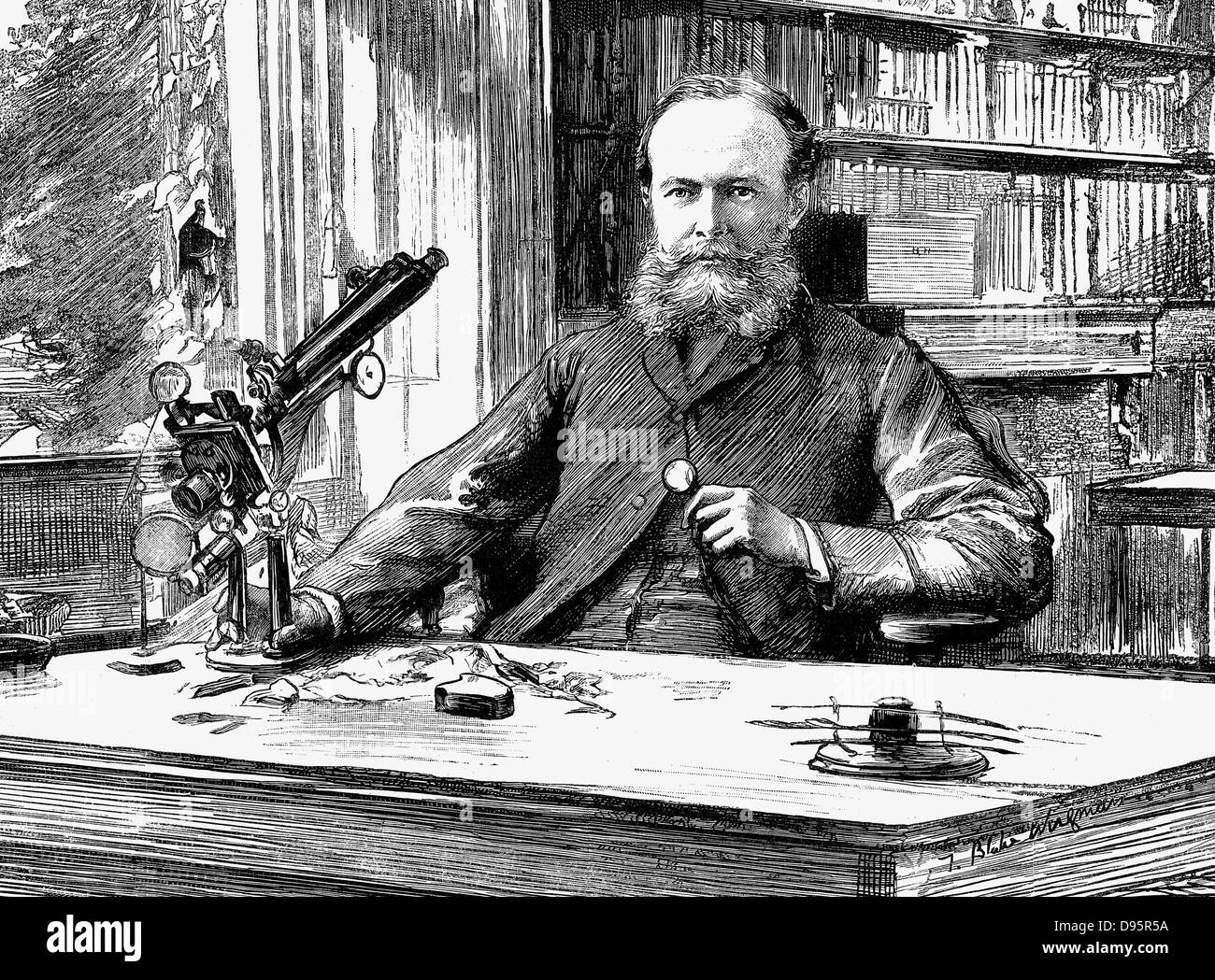John Lubbock, lst  Baron Avebury (1834-1913) English banker, scientist and Liberal politician. Lubbock by window - Stock Image