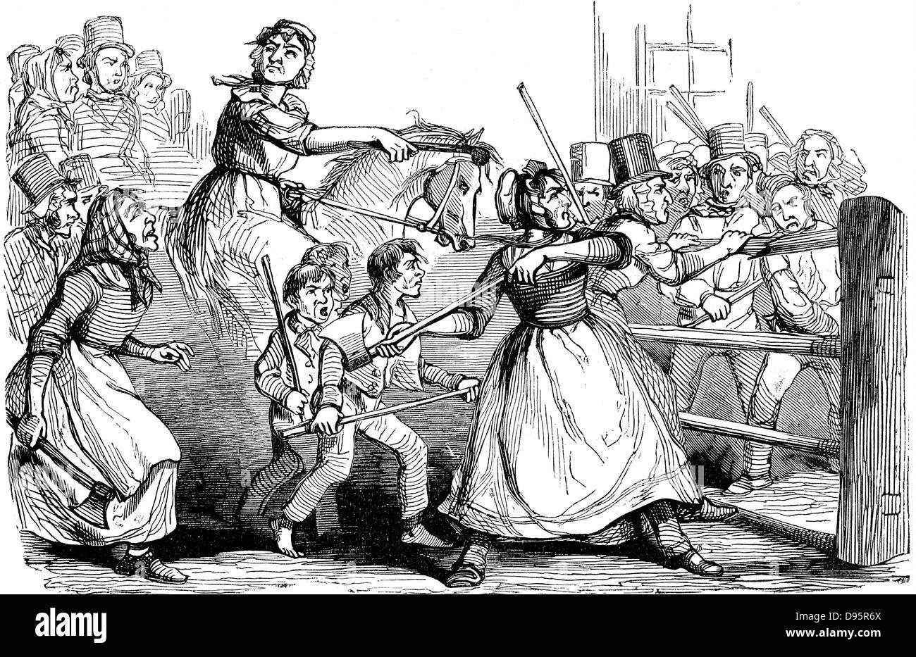 Rebecca Riots in Wales. Men and boys, many dressed as women, attacking a turnpike gate in protest at charges at - Stock Image