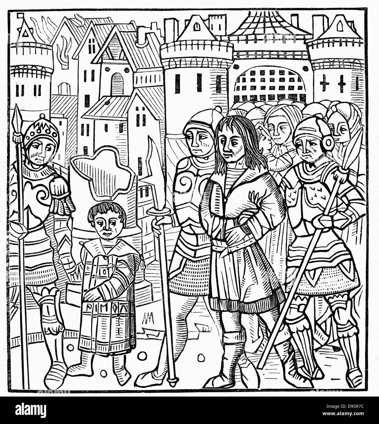 Saint Louis (Louis IX of France) and his brothers Alphonse and Charles taken prisoner during the Sixth  Crusade. - Stock Image