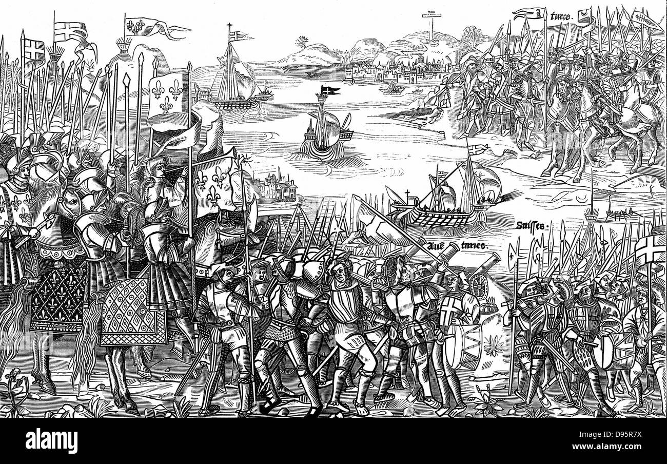 Saint Louis (Louis IX of France) on his first (the Sixth) crusade disembarking of Damietta (Nile Delta) which he - Stock Image