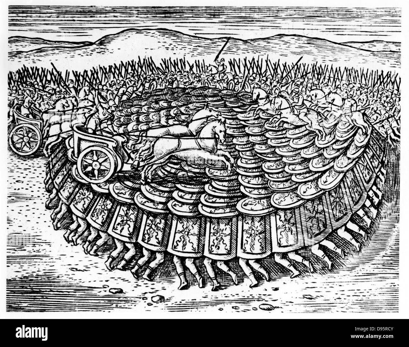 Roman soldiers making a Tortoise with their shields strong enough for chariots to drive over. Reconstruction from - Stock Image