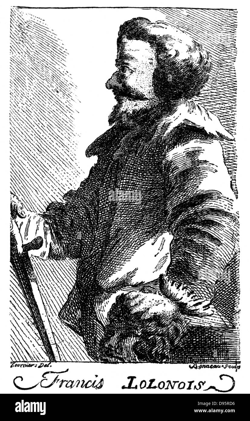 Francis Lolonois or l'Ollonais, notorious 17th century pirate noted for his brutality.  Operating mainly in - Stock Image