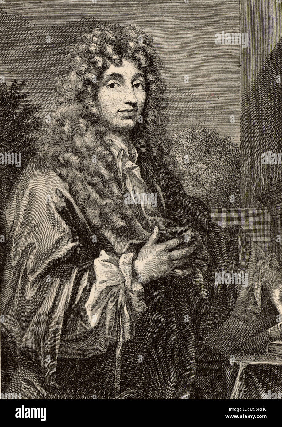 Christiaan Huyghens (1629-1695) Dutch physicist and astronomer.  Made a pendulum clock,  discovered the rings of - Stock Image