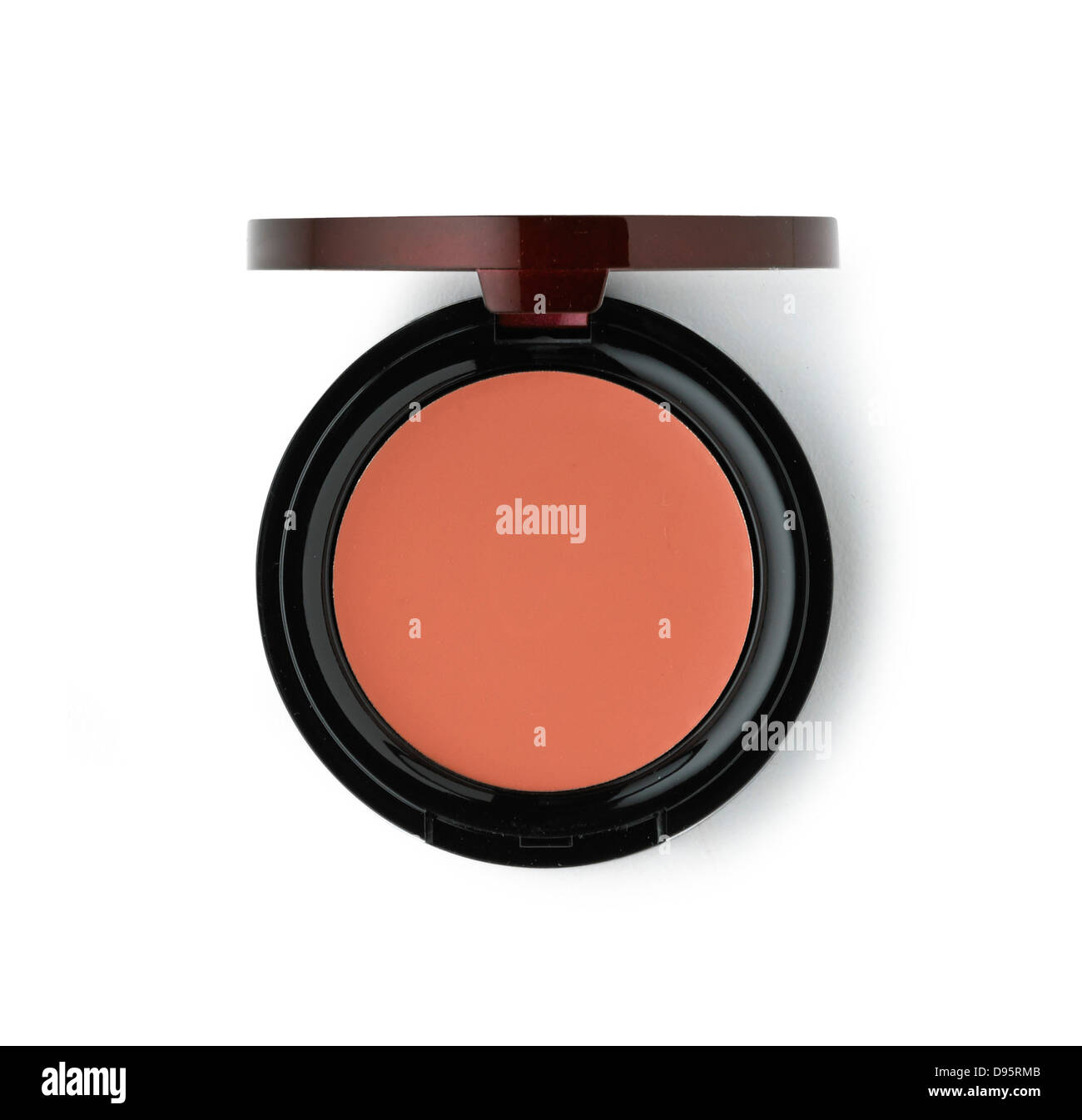 blusher compact cut out onto a white background - Stock Image