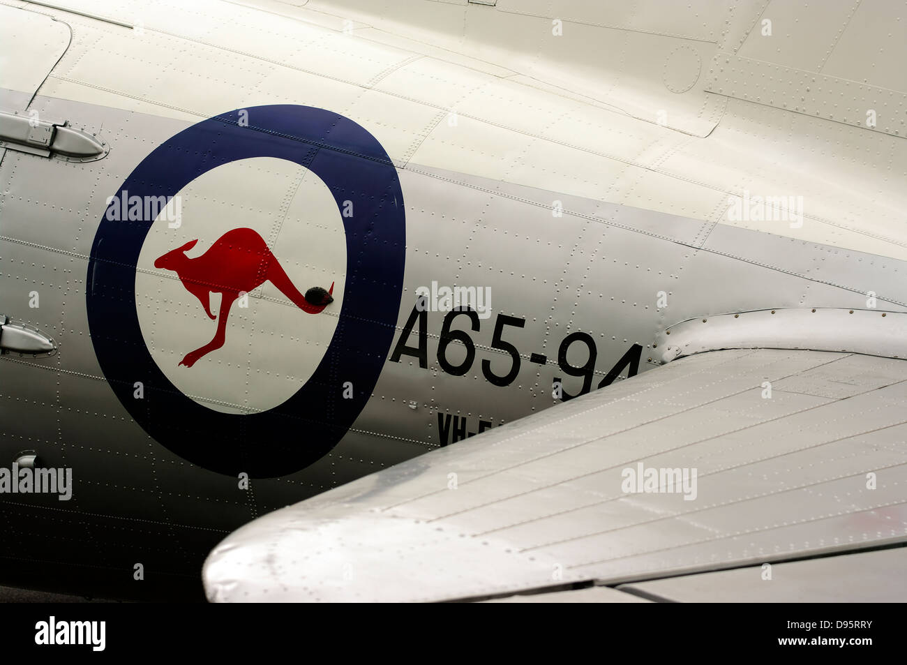 Royal Australian Air Force roundel on the fuselage of a vintage aircraft. - Stock Image
