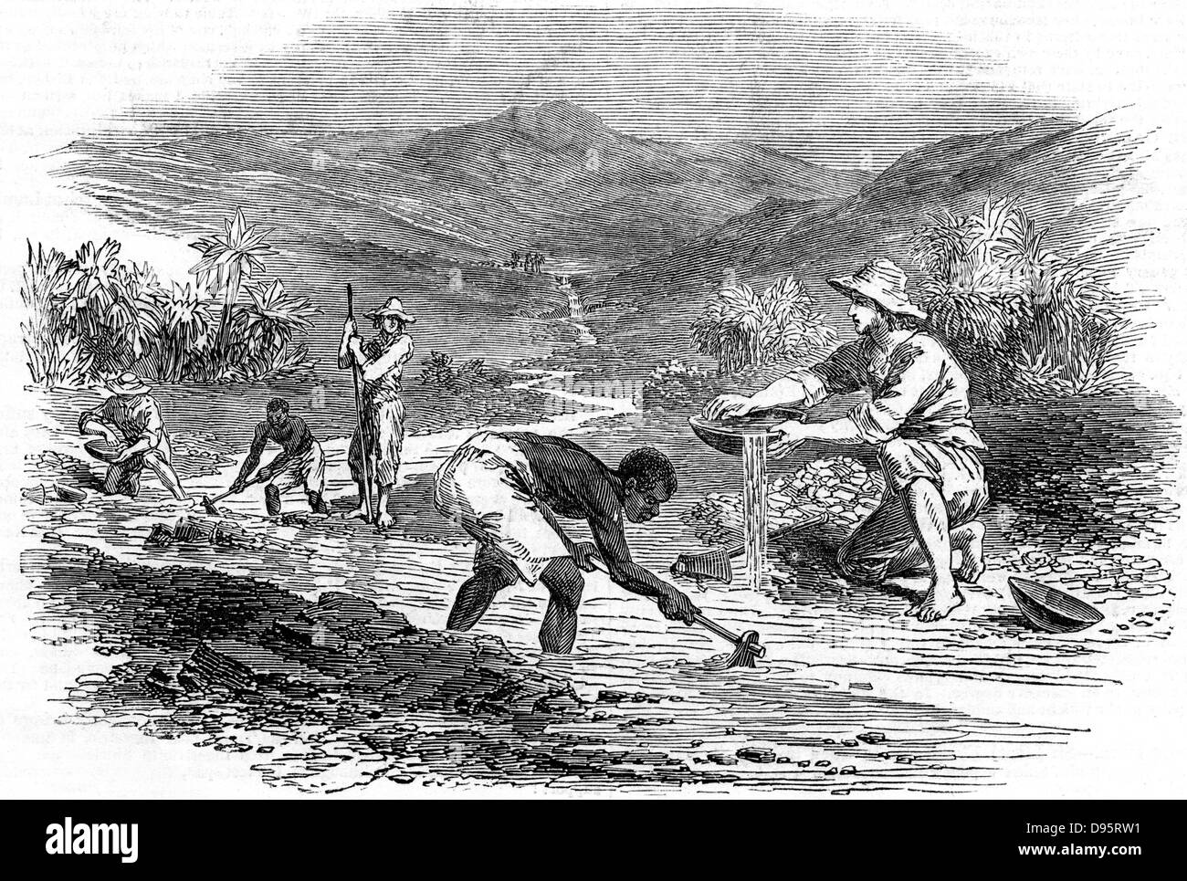 Panning for gold during the Californian Gold Rush of 1849. From 'The Illustrated London News' 6 January - Stock Image