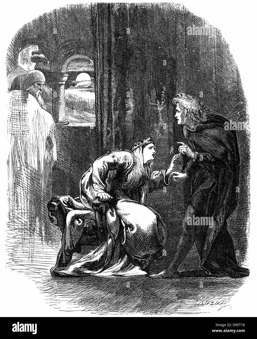Shakespeare 'Hamlet' Act 3 Sc 4. Ghost of Hamlet's father appearing to him to remind him that he must - Stock Image