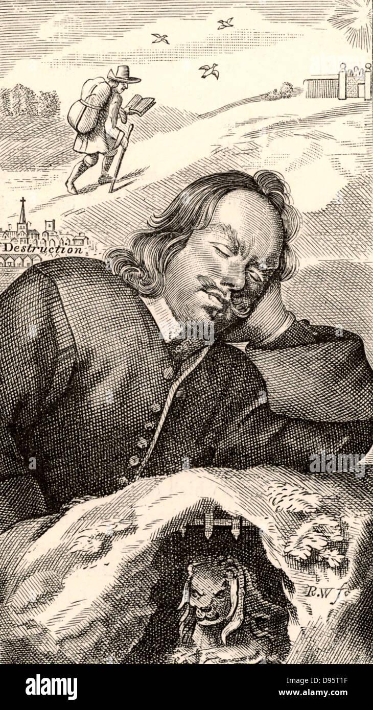 John Bunyan (1628-1688) English Puritan preacher. Bunyan's dream in which he saw the story of 'Pilgrim's - Stock Image