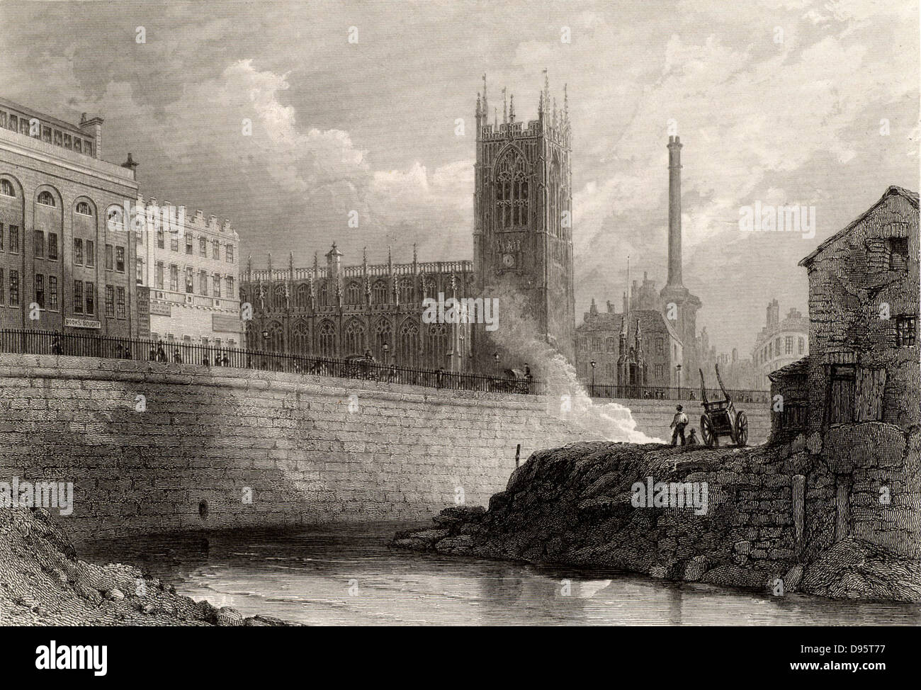 Manchester, England, from the River Irwell, showing the new buildings, including an imposing factory chimney, of - Stock Image