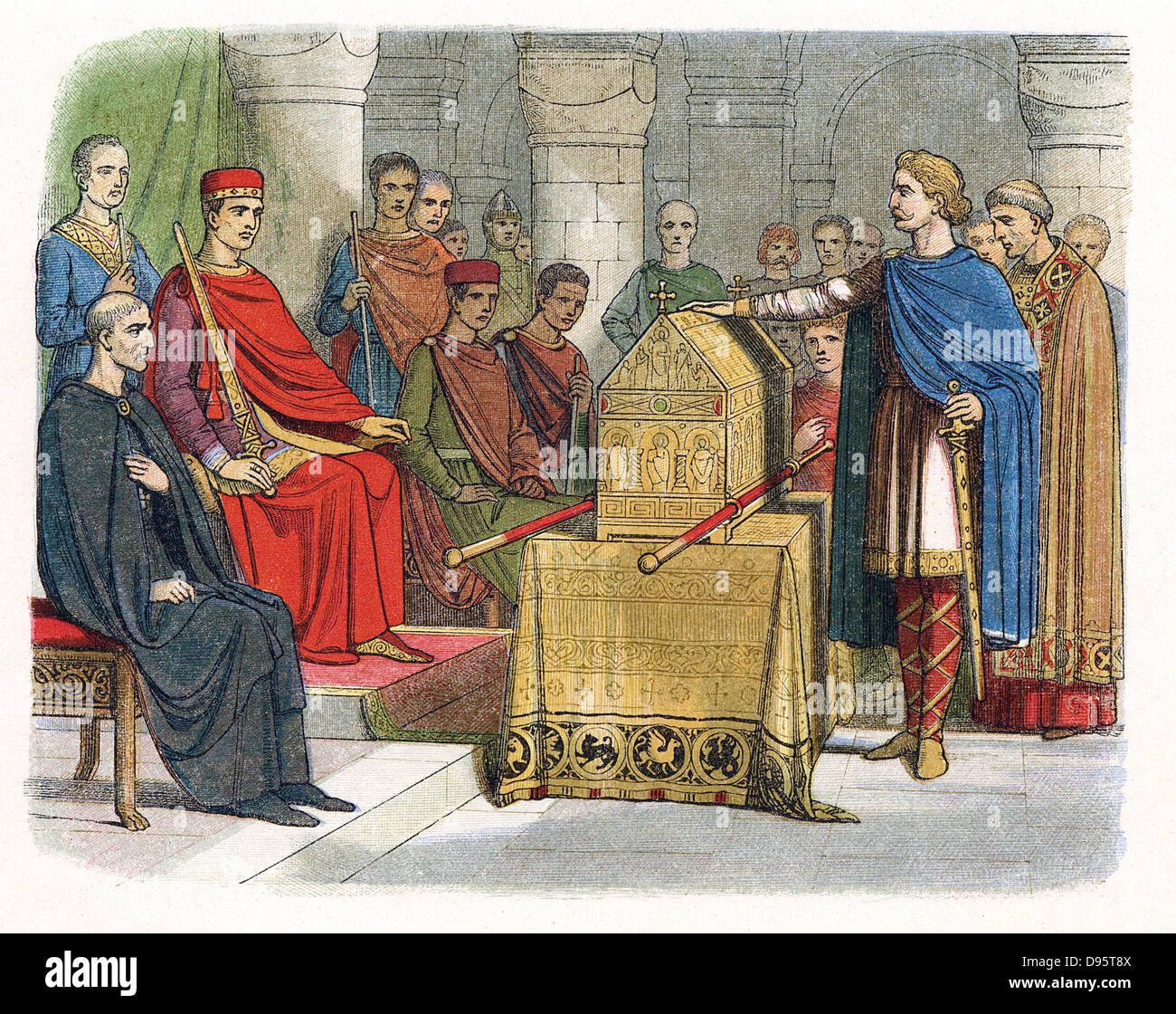 Harold II (c1020-1066) last Anglo-Saxon king of England (1066): Harold  swearing an oath on sacred relics (c1064) before William